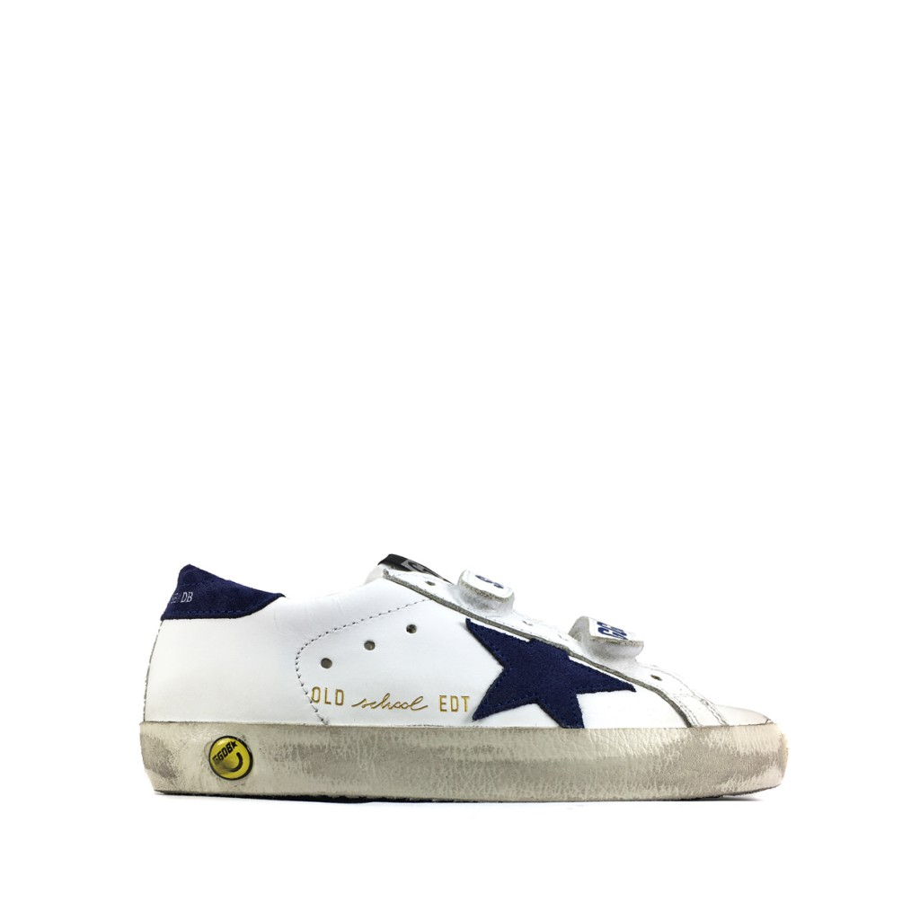 Golden Goose deluxe brand trainer Velcro sneaker with blue accents