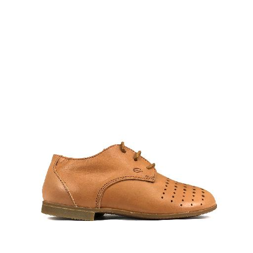 Kids shoe online Gallucci first walker Derby in brown with perforation