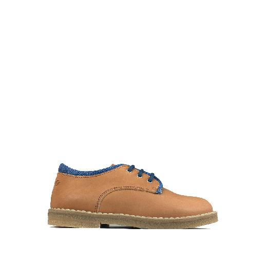 Kids shoe online Gallucci lace-up shoe Brown derby with jeans detail