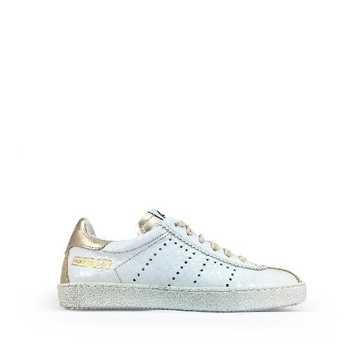 Kids shoe online Momino trainer White croco sneaker with gold