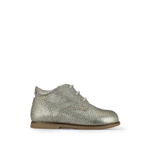 Kids shoe online Ocra first walker First stepper in gold grid leather
