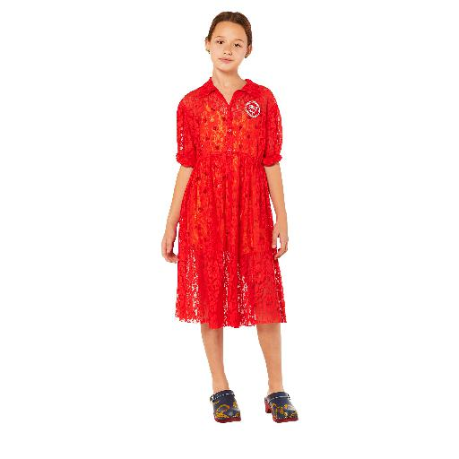 Kids shoe online The Animals Observatory dresses Red lace dress