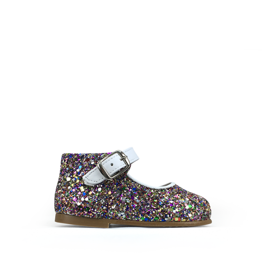 Kids shoe online Eli first walker First step ballerina in pink multiglitter