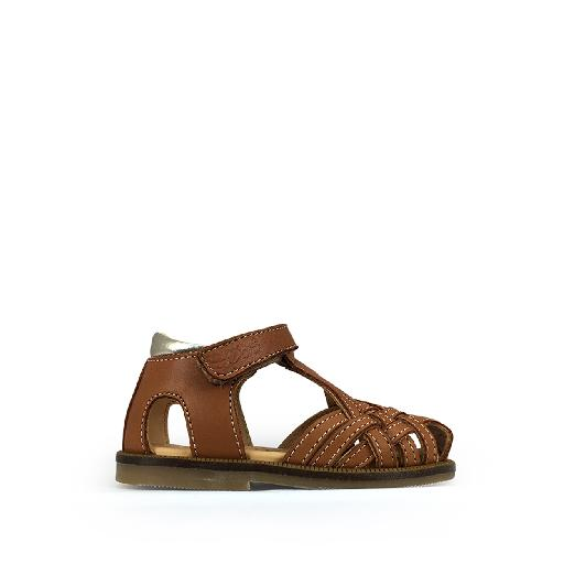 Kids shoe online Ocra first walker Braided brown first step sandal