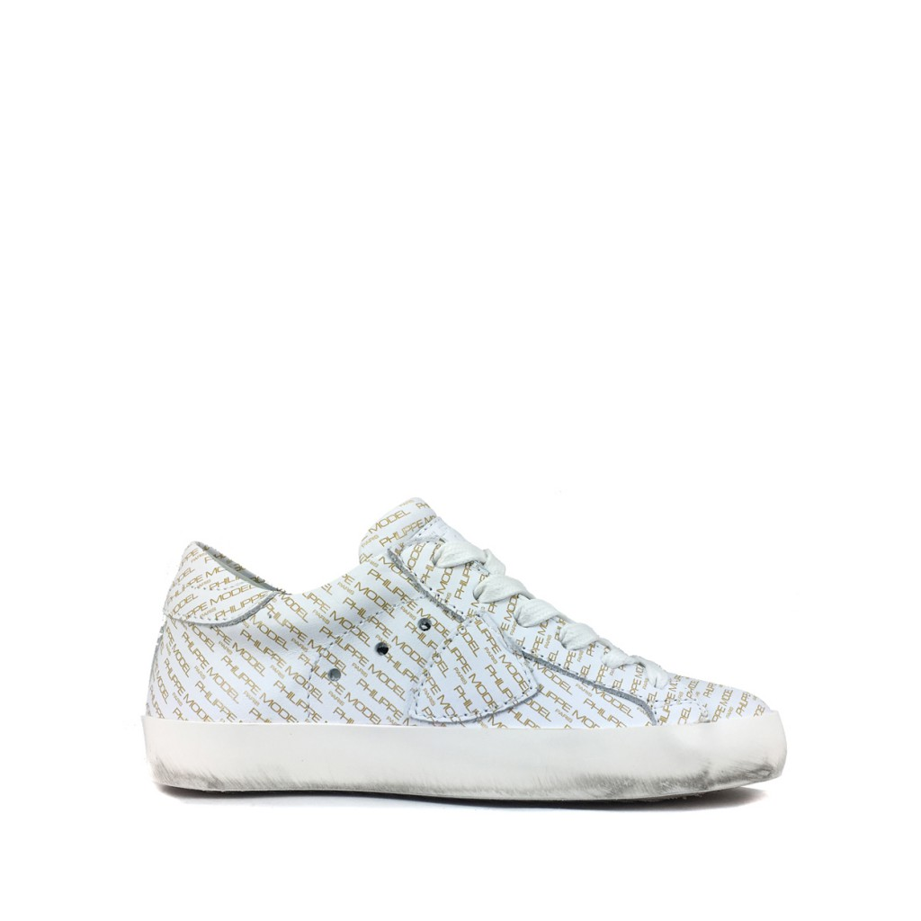 Philippe Model - Low white sneaker with monograms