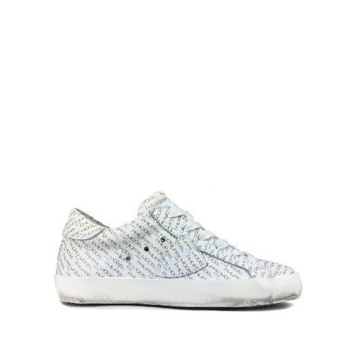 Kids shoe online Philippe Model trainer Low white sneaker with monograms