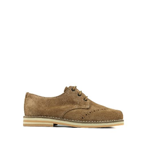 Kids shoe online Eli lace-up shoe Brown derby in nubuck