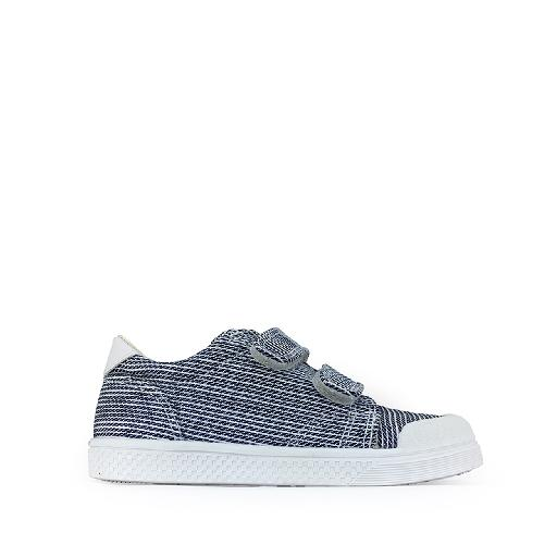 Kids shoe online 10IS trainer Canvas velcro sneaker striped blue