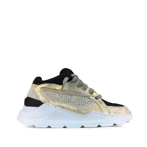 Kids shoe online P448 trainer Dad sneakers in gold and black
