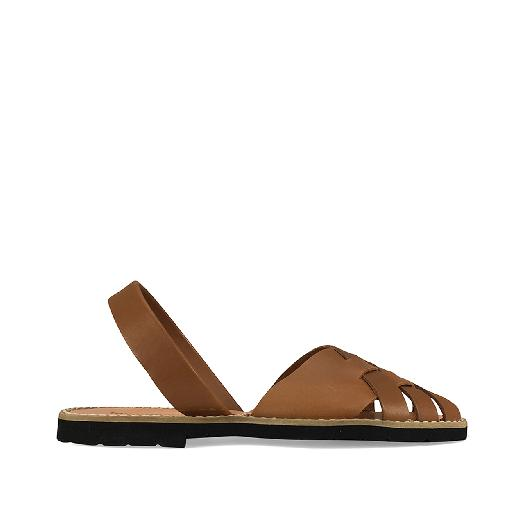Kids shoe online Minorquines sandal Braided sandals in cognac