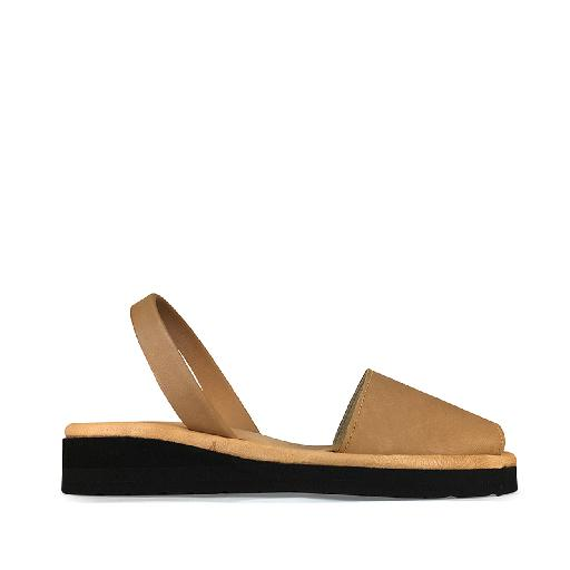 Kids shoe online Minorquines sandal Sandal in cognac with raised sole