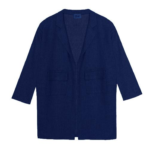 Kids shoe online The new society jackets Dark blue linen blazer