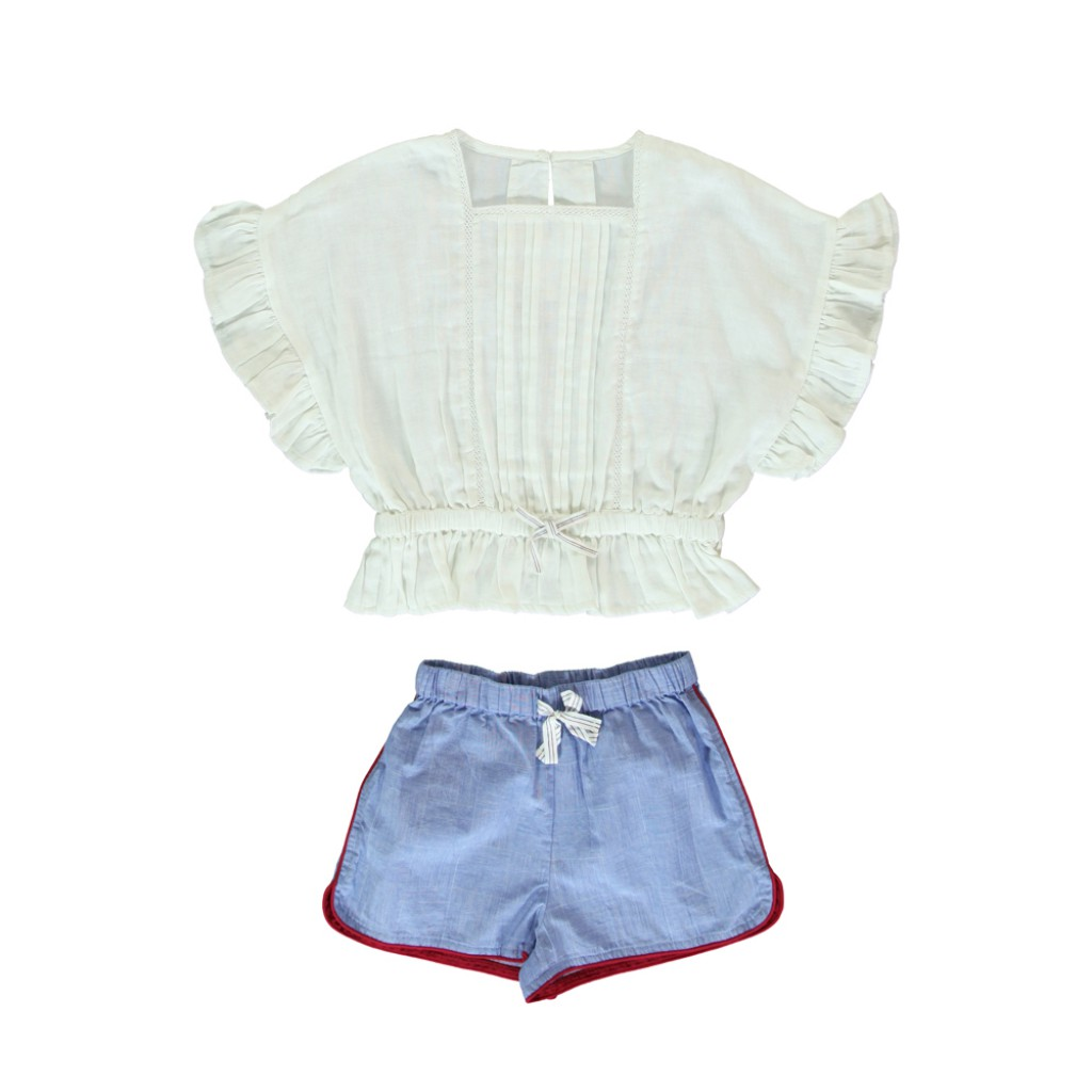 Dorélit - Short pyjamas with embroidery in white and blue