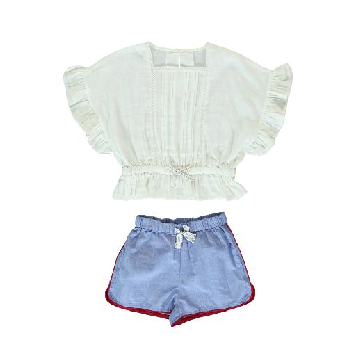 Kids shoe online Dorélit nightdresses Short pyjamas with embroidery in white and blue
