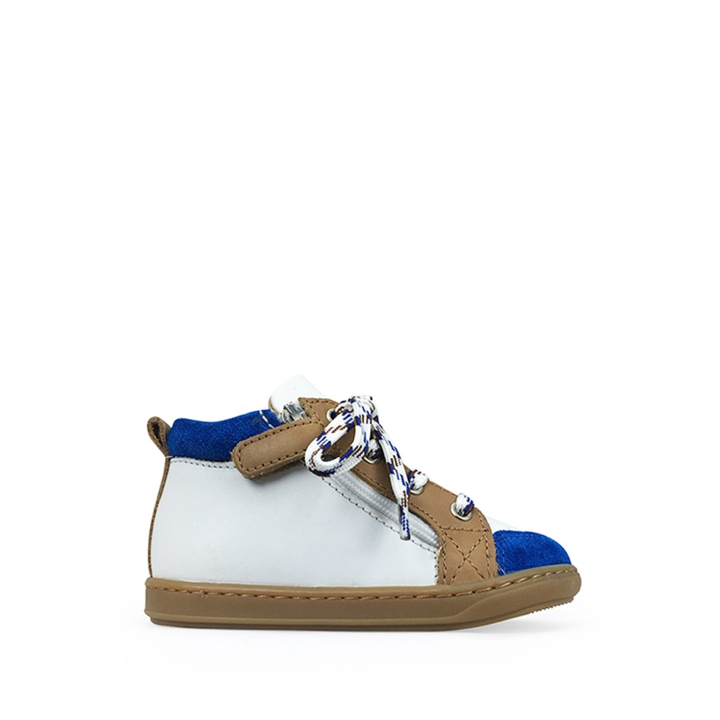 Pom d'api - White 1st step sneaker with blue and brown