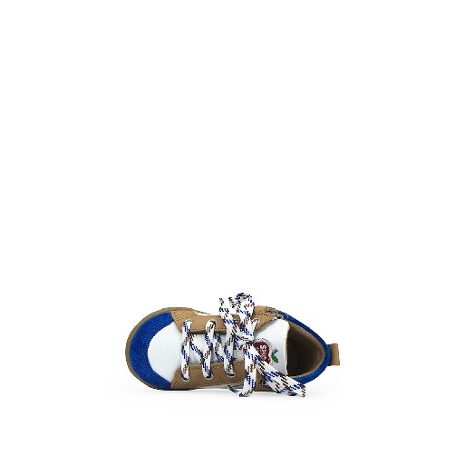 Pom d'api first walker White 1st step sneaker with blue and brown