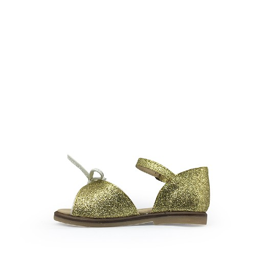 JFF first walker Glitter golden sandal with closed heel