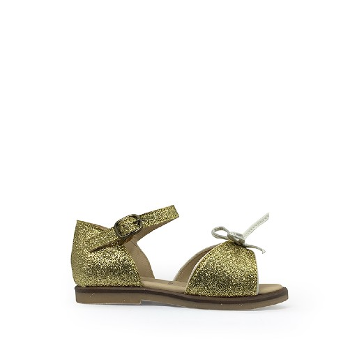 Kids shoe online JFF first walker Glitter golden sandal with closed heel
