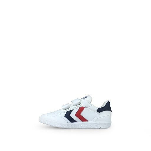 Hummel trainer White velcro sneaker with v-stripes