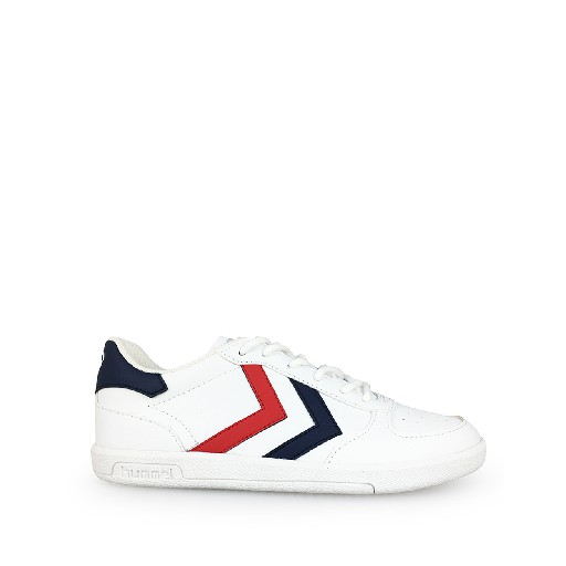 Kids shoe online Hummel trainer White lace sneaker with v-stripes