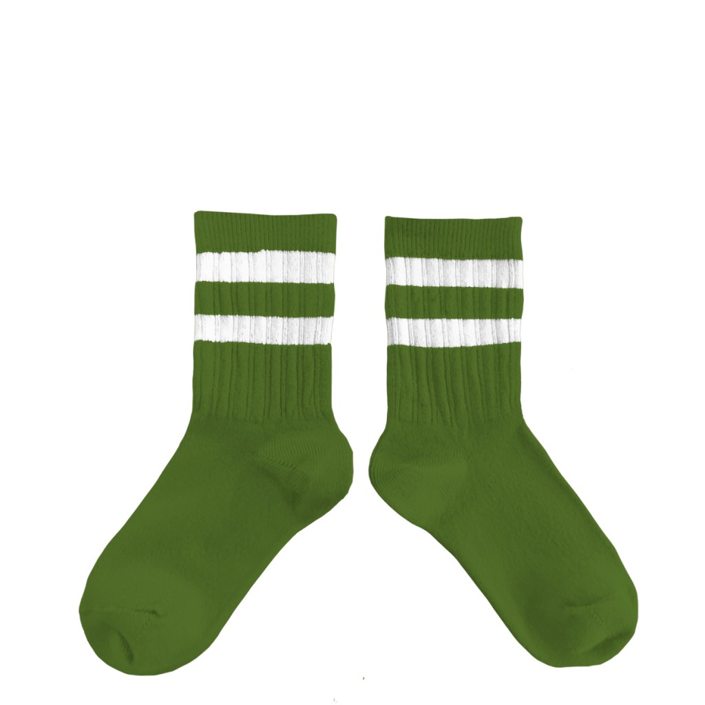 Collegien - Green sport socks with stripes