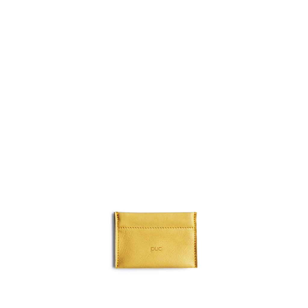 Puc - Ocher yellow coin clic wallet Barber