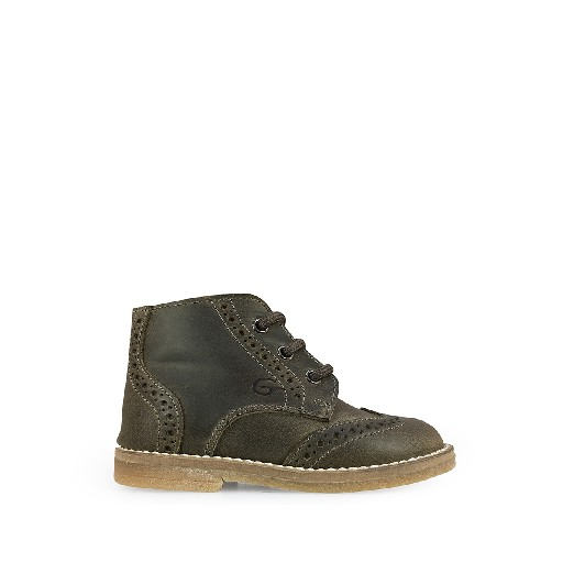 Kids shoe online Gallucci first walker Khaki little boots with brogues