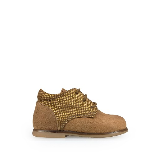 Kids shoe online Ocra first walker First stepper in brown and pied de poule