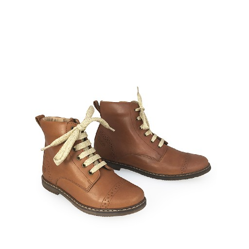 Pom d'api boot Brown bottine with golden laces