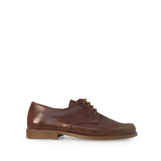 Kids shoe online Eli lace-up shoe Brown derby with semi perforation