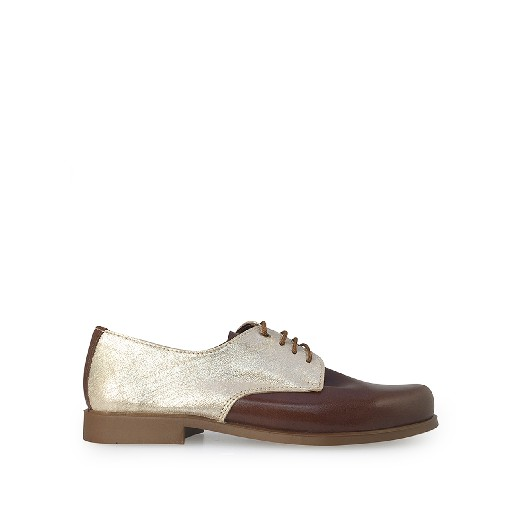 Kids shoe online Eli lace-up shoe Derby in brown and gold