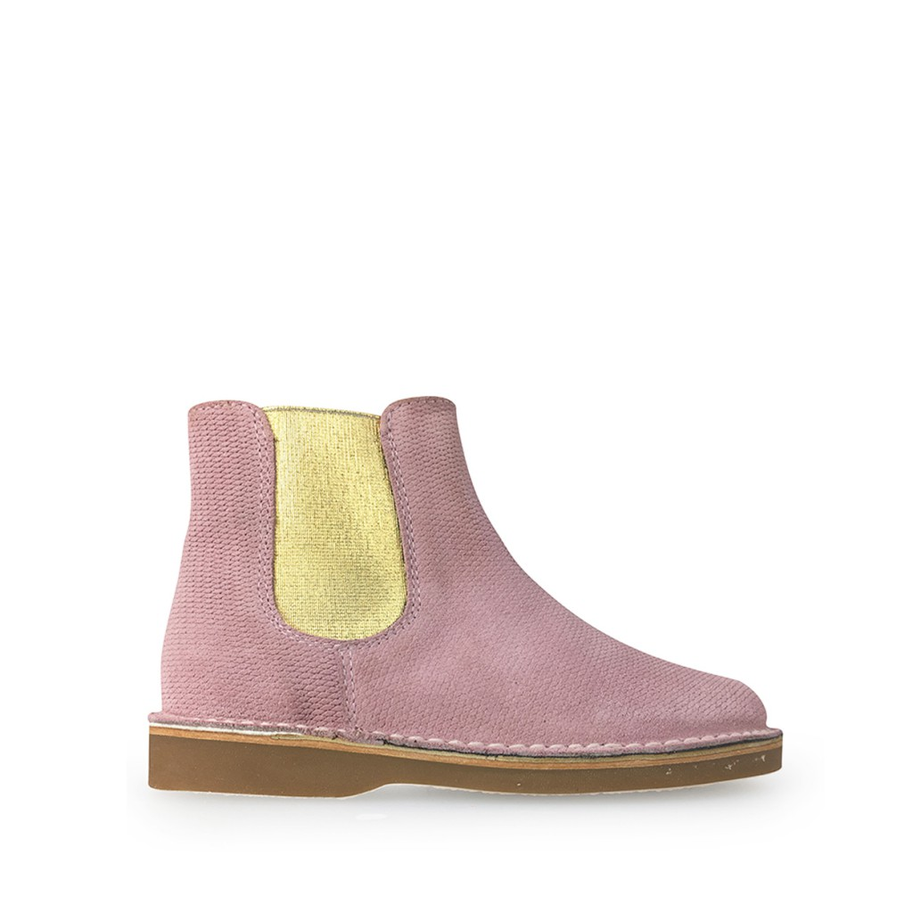 Eli - Short pink boot with golden stretcher