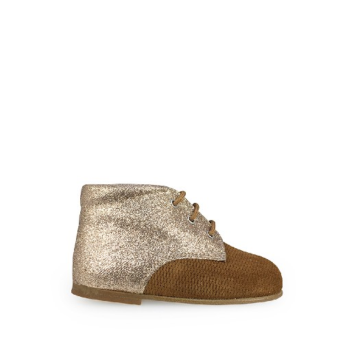 Kids shoe online Eli first walker First stepper in brown and glitter