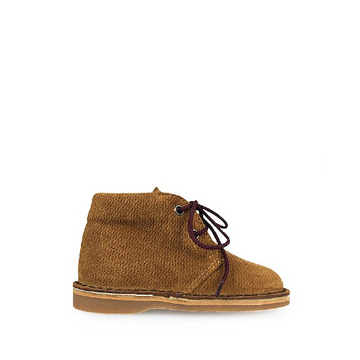 Kids shoe online Eli first walker Desert boot in brown grid leather