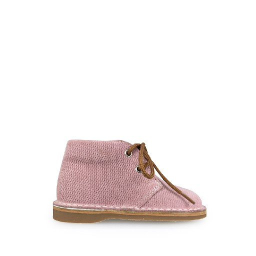 Kids shoe online Eli first walker Desert boor in pink grid leather