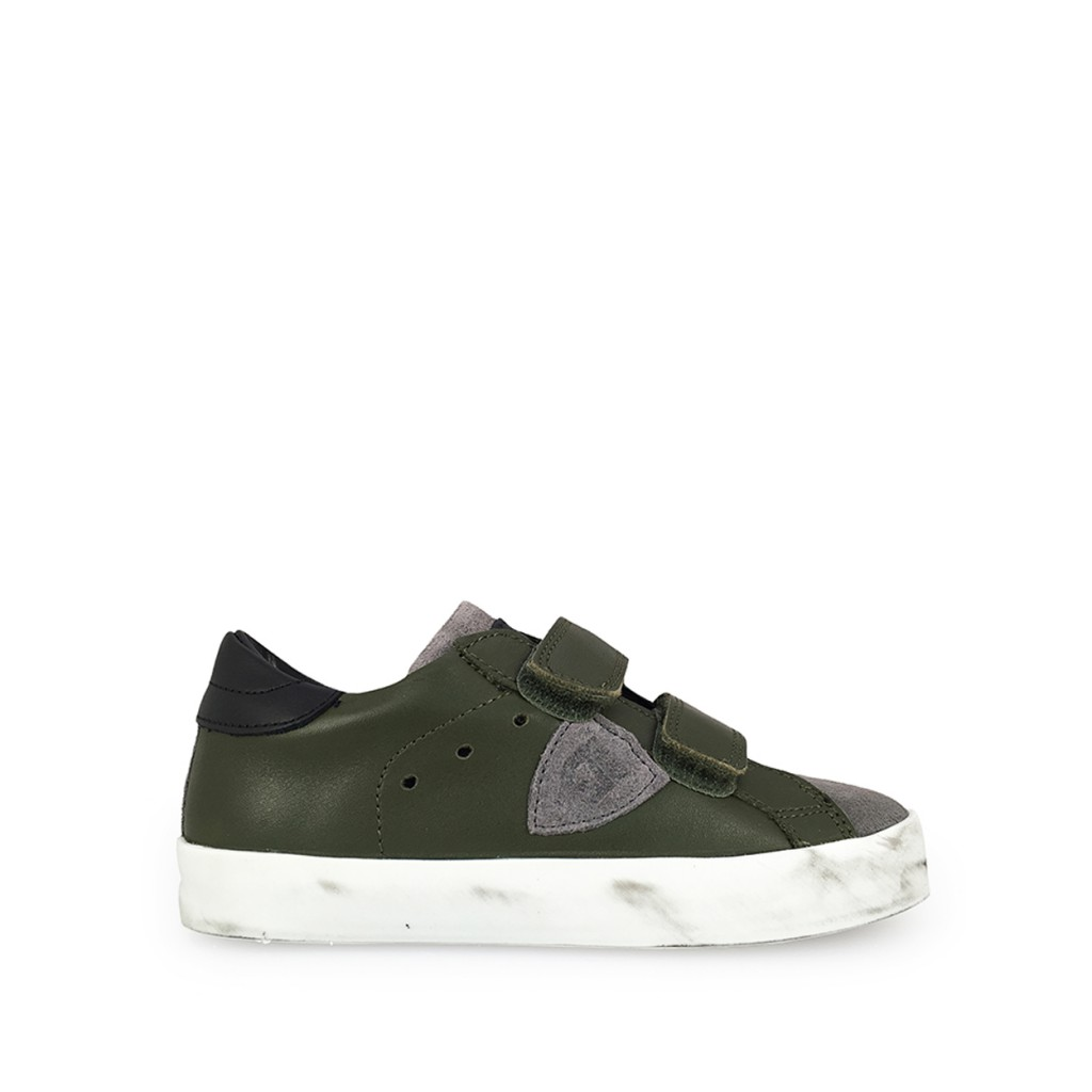 Philippe Model - Low velcrosneaker in grey and green