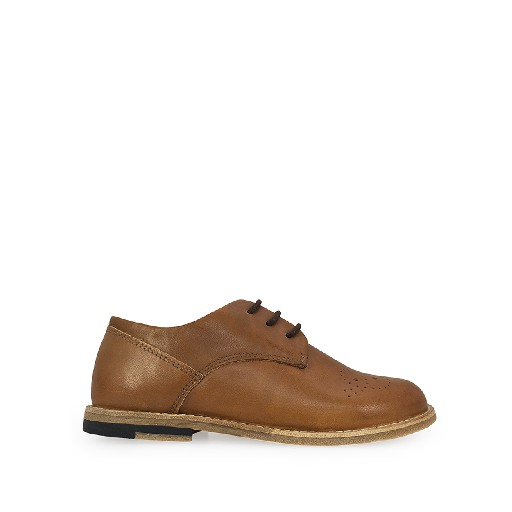 Kids shoe online Young Soles lace-up shoe Brown derby with brogues