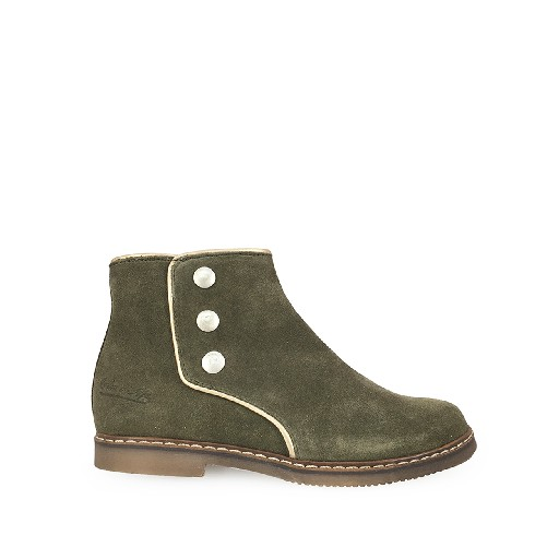 Kids shoe online Pom d'api short boots Short green boot with studs