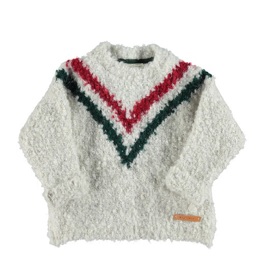 Kids shoe online Piupiuchick jersey White knitted jumper with V-pattern