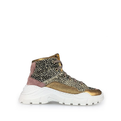 Kids shoe online Ocra trainer Chunky sneaker dots and gold