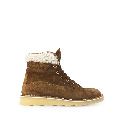 Kids shoe online Rondinella boot Brown lace-up boot with wool detail