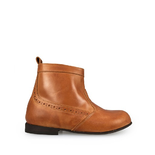 Kids shoe online Two Con Me by Pepe short boots Honey brown short boot with brogues