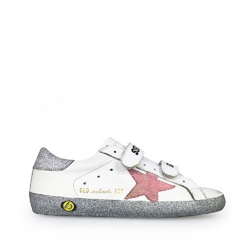 Kids shoe online Golden Goose deluxe brand trainer White velcro sneaker with pink