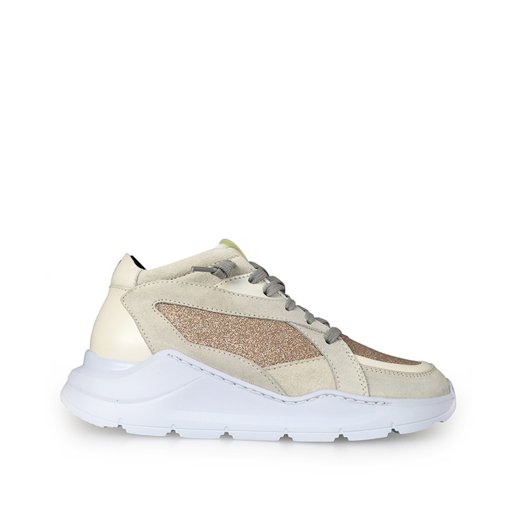 P448 - Dad sneakers in white and rosé glitter