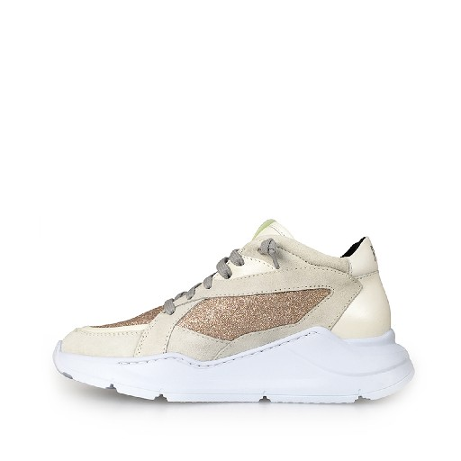 P448 trainer Dad sneakers in white and rosé glitter