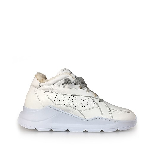 Kids shoe online P448 trainer Dad sneaker in white with lining