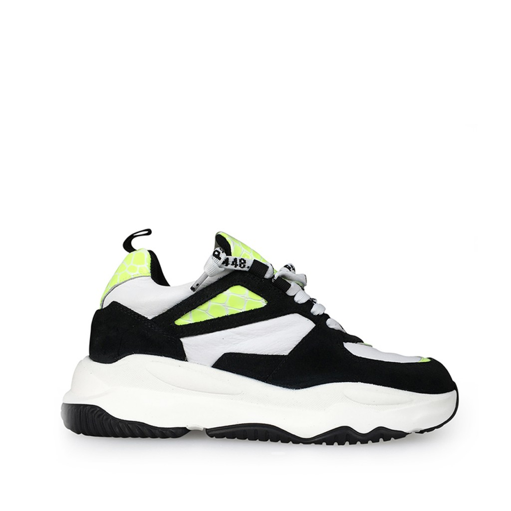 P448 - Dad sneakers in black white and fluo yellow
