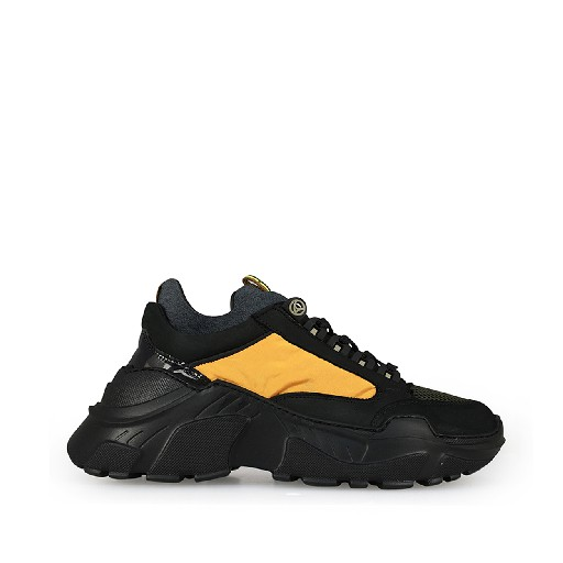 Kids shoe online Rondinella trainer Black chunky sneaker with mustard