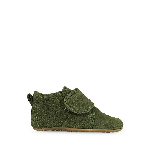 Kids shoe online Pompom slippers Leather slipper in suede green