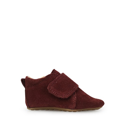 Kids shoe online Pompom slippers Leather slipper in suede burgundy